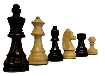 SchachQueen – Bundesliga Turnier Schachfiguren schwarz/weiß Classic Holz Königshöhe 97 mm - 2